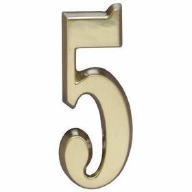 "Whitehall Satin Brass 4.75"" House Address Numbers Number ""5"""