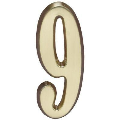 "Whitehall Satin Brass 4.75"" House Address Numbers Number ""9"""
