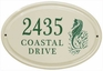 Whitehall Sea Horse Ceramic Oval - Standard Horizontal Wall Plaque - Three Line - Green