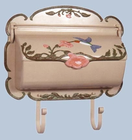 SHB-1004-NAT - Hand Painted Hummingbird Horizontal Residential Mailbox