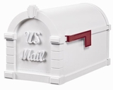 Signature Keystone Series Mailbox - White with White Script