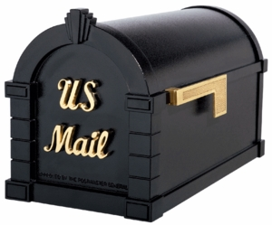 Signature Keystone Series Mailbox - Black with Polished Brass Script