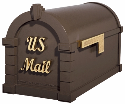 Signature Keystone Series Mailbox - Bronze with Polished Brass Script