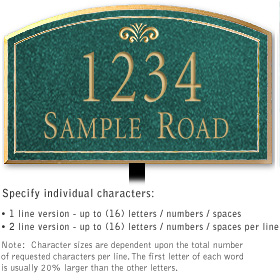 Salsbury 1422JGFL Signature Series Address Plaque