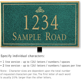 Salsbury 1412JGIL Signature Series Address Plaque