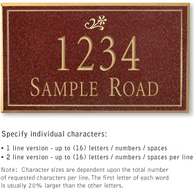 Salsbury 1412MGDS Signature Series Address Plaque