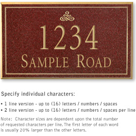 Salsbury 1412MGIS Signature Series Address Plaque
