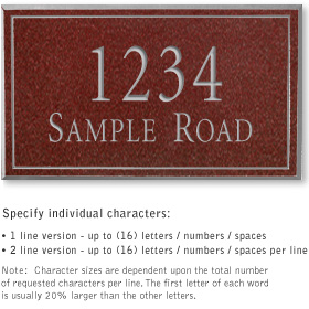 Salsbury 1412MSNS Signature Series Address Plaque