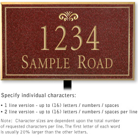 Salsbury 1411MGFL Signature Series Address Plaque