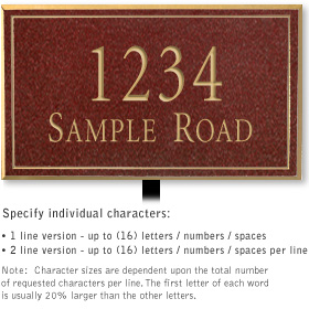 Salsbury 1411MGNL Signature Series Address Plaque