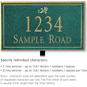 Salsbury 1410JGDL Signature Series Address Plaque