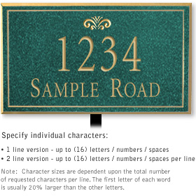 Salsbury 1410JGFL Signature Series Address Plaque