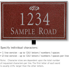 Salsbury 1410MSFL Signature Series Address Plaque