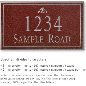 Salsbury 1410MSIS Signature Series Address Plaque