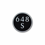 Small Round Address Plaque Nickel Black