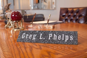 Solid Granite Engraved Desk Plaque (Available in three granite colors: Polished Black, Green or Ash)
