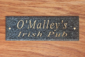 Solid Granite Engraved Door Plaque (Available in four granite colors: Polished Black, Green, Ash or Quartzite Natural)
