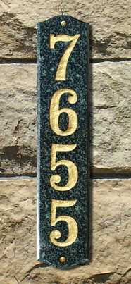 """Solid Granite Vertical Address Plaque (19"""") with Engraved Numbers"""