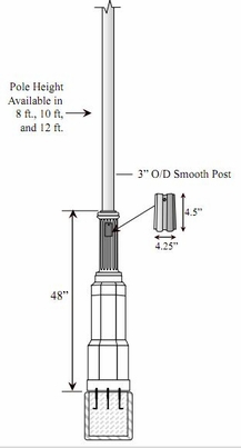 Special Lite- Cast Aluminum- Direct Surface Mount Base- Decorative 3inch O/D Smooth Lamp Post and Access Door