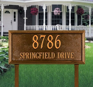 Springfield Rectangle - Estate Lawn Address Sign - Two Line