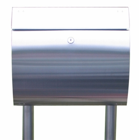 Stainless Steel Modern, Contemporary Curb Appeal Mailbox and Mailbox Stand