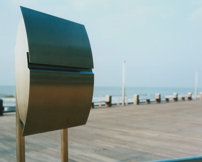 Stainless Steel Modern, Contemporary Vega Galaxy Mailbox and Mailbox Stand