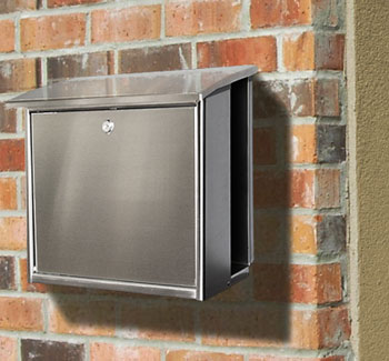 stainless steel modern wall mount mailbox square - Wall Mount Mailboxes