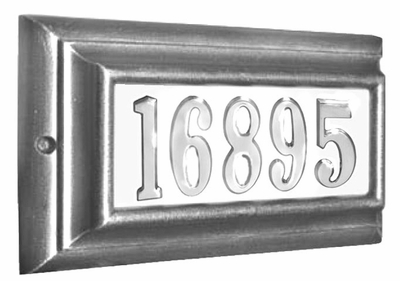 Edgewood Standard Lighted Address Plaque with Cast Aluminum Numbers - Pewter Frame