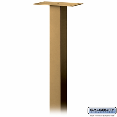 Salsbury 4385D-BRS Standard Pedestal In Ground Mounted For Designer Roadside Mailbox Brass Finish