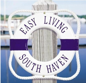 Whitehall Personalized Life Ring Buoy Plaque - (2 Lines) - White & Blue