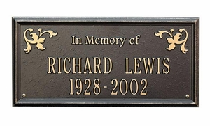 "Standard Size Wilmington ""In Memory of"" Wall or Lawn Plaque - (2 Lines)"