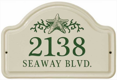 Whitehall Star Fish Ceramic Arch - Two Line Standard Wall Plaque - Green