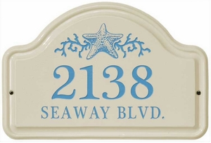Whitehall Star Fish Ceramic Arch - Two Line Standard Wall Plaque - Sea Blue