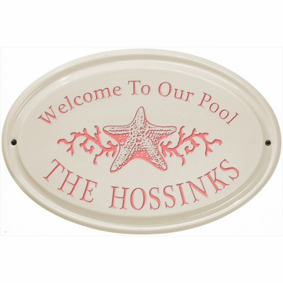 Whitehall Star Fish Ceramic Oval - Horizontal Standard Wall Plaque - One Line - Coral