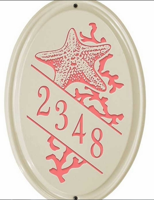 Whitehall Star Fish Ceramic Oval - Vertical Standard Wall Plaque - One Line - Coral