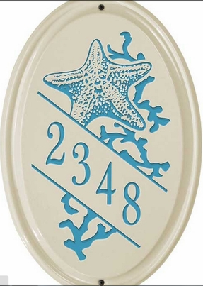 Whitehall Star Fish Ceramic Oval - Vertical Standard Wall Plaque - One Line - Sea Blue