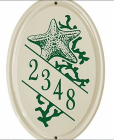 Whitehall Star Fish Ceramic Oval - Vertical Standard Wall Plaque - One Line - Green