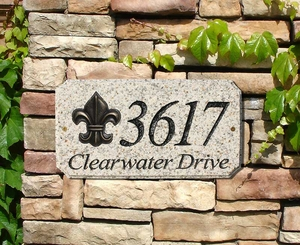 "StoneMetal ""FLEUR DE LIS LOGO"" Rectangle Solid Granite Address Plaque in Autumn Leaf Color"