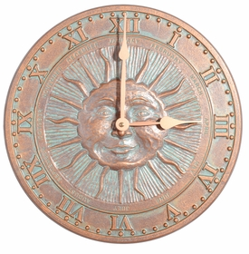 Whitehall Sunface Clock - Copper Verdi