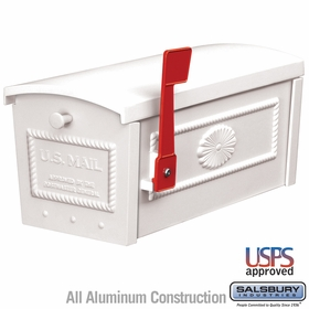 Salsbury 4550WHT Townhouse Mailbox Post Style White