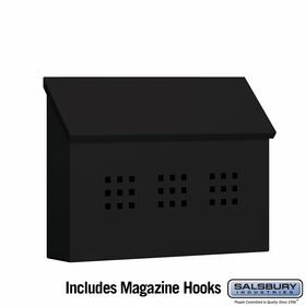 Salsbury 4615BLK Traditional Mailbox Decorative Horizontal Style Black