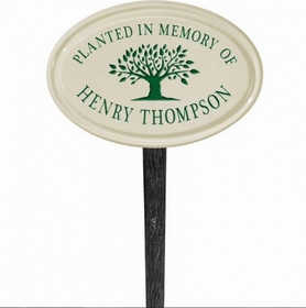 Whitehall Tree Memorial Ceramic Oval - Petite Lawn Address Sign - One Line - Green