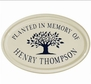 Whitehall Tree Memorial Ceramic Oval - One Line Petite Wall Plaque - Black