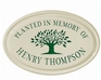 Whitehall Tree Memorial Ceramic Oval - One Line Petite Wall Plaque - Green