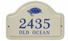 Whitehall Turtle Ceramic Arch - Standard Two Line Wall Plaque - Dark Blue