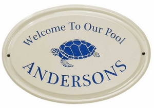 Whitehall Turtle Ceramic Oval - One Line - Standard Wall Plaque - Dark Blue