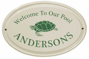 Whitehall Turtle Ceramic Oval - One Line - Standard Wall Plaque - Green