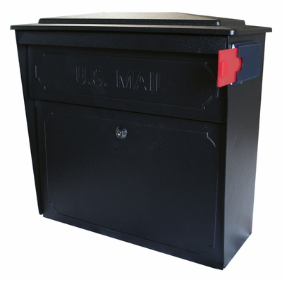Ultimate High Security Locking Townhouse Wall Mount Mailbox in Black