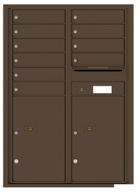 Versatile Rear Loading Commercial Mailbox with 10 Tenant Doors and 2 Parcel Lockers - Double Column