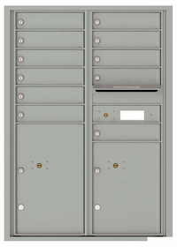 Versatile Front Loading Commercial Mailbox with 11 Tenant Doors and 2 Parcel Lockers - Double Column